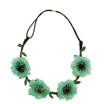 Joyen Enterprise Co., Ltd. Women's Headband with Fabric Flowers - Mint/Black