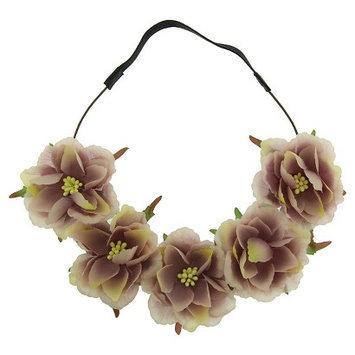 Joyen Enterprise Co., Ltd. Women's Headband with Large Fabric Flowers - Brown