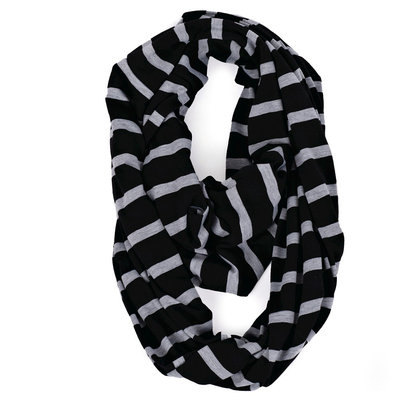 Itzy Ritzy Nursing Happens Infinity Breastfeeding Scarf - Platinum Stripe