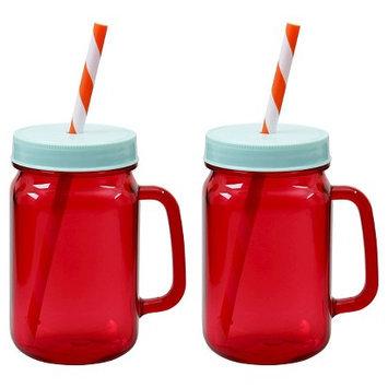 Ev Summer Mini Mason Tumblers Set of 2 - Red