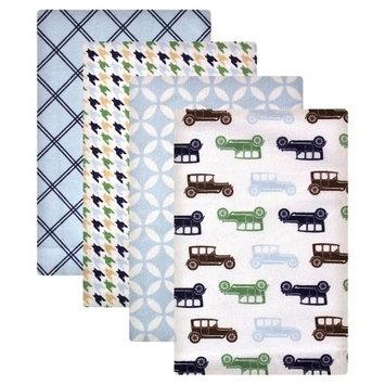 Hudson Baby Baby Flannel Receiving Blanket 4-Pack Blue