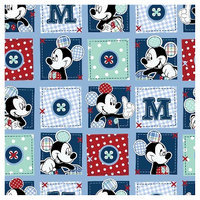 Disney Mickey Plaid Dots Patch Fabric