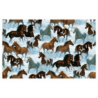 Springs Creative Free Reign Packed Horses Fabric