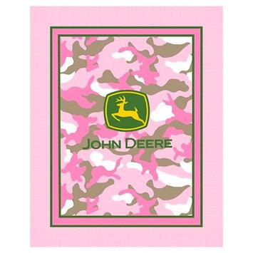 John Deere Pink Camo No Sew Fleece Throw Kit