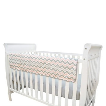 TL Care Crib Rail Cover Pink and Gray Zig Zag
