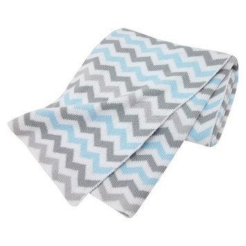 TL Care 100% Cotton Sweater Knit Blanket Blue Zig Zag