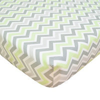 TL Care 100% Cotton Percale Fitted Crib Sheet Celery and Gray Zig Zag