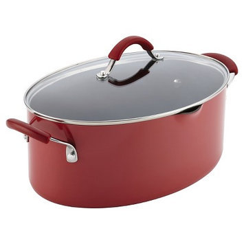 Rachael Ray Cucina Hard Enamel Nonstick 8-Quart Covered Oval Pasta Pot with Pour Spout, Cranberry Red