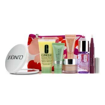 Clinique Travel Set: Makeup Remover + DDML + Moisture Surge + City Block SPF40 + Eye Serum + Lip Smoothie (Strawberry Bliss) + Mirror + Bag 7pcs+1bag