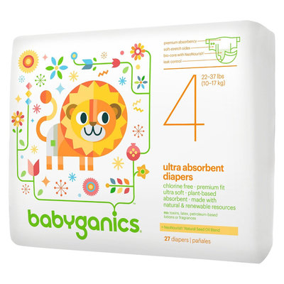 Babyganics Ultra Absorbent Disposable Diapers Size 4- 27 Count