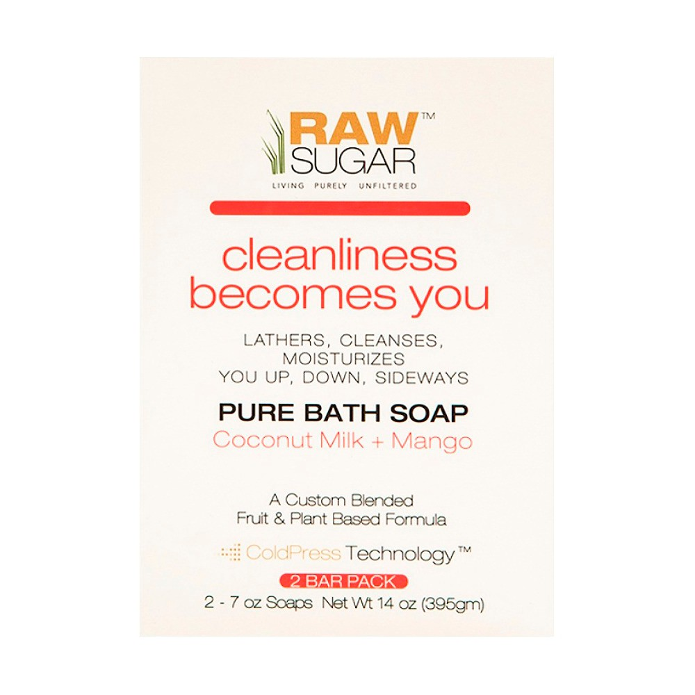 RAW Sugar Cleanliness Becomes You Coconut Milk+Mango Pure Bath Soap - 2 Count