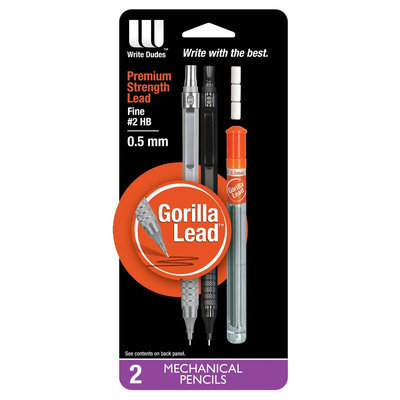 Mega Brands Pencil 2 ea No. 2 0.5mm Write Dudes, Black/Silver