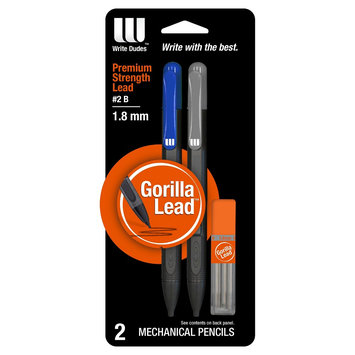 Mega Brands Pencil 2 ea No. 2 1.3mm Write Dudes, Multi-Colored