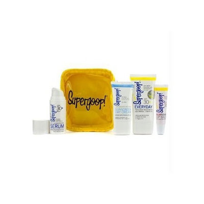 Supergoop! City & Sand Sunscreen Tote Set: UV Lotion 48ml + Sunscreen Cream 30ml + Sunscreen Serum 20ml + Lip Balm 15ml + Bag -