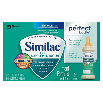 Similac Supplementation Similac for Supplementation Ready-to-Feed Liquid Infant Formula, 8 - 2 Fl oz bottles (6 Pack)