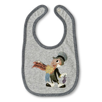 Tawil Associates Disney Newborn Boys' Jiminey Cricket Bib - Grey