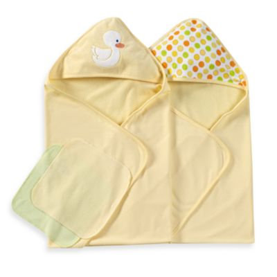 Spasilk Hooded Towels with Matching Washcloths - Duck