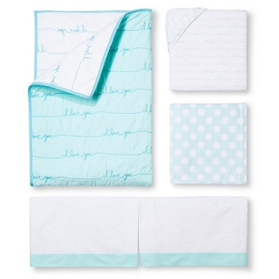 Simply Love Aqua 4pc Crib Bedding Set by Circo
