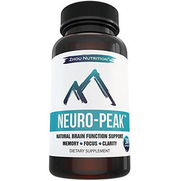 Zhou Nutrition Natural Brain Function Support for Memory, Focus Clarity - Mental Performance Nootropic - Physicia