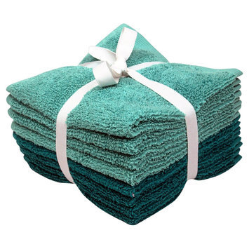 Room Essentials 8-pk. Solid Textured Washcloth Set - Teal Blue/Sunbleached Turquoise
