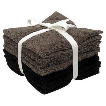 Room Essentials 8-pk. Solid Textured Washcloth Set - Ebony/Earth Gray