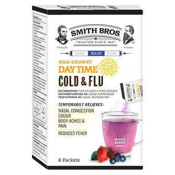 Smith Bros Mixed Berry Daytime Cold & Flu Powder - 8 Count