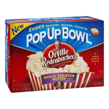 Orville Redenbacher's Movie Theater Butter Popcorn Pop Up Bowl - 3 CT