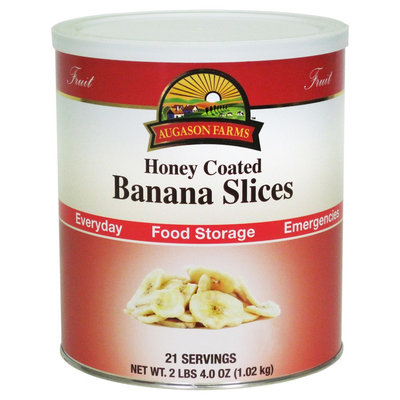 Augason Farms Emergency Food Honey Coated Dried Banana Slices 36 oz