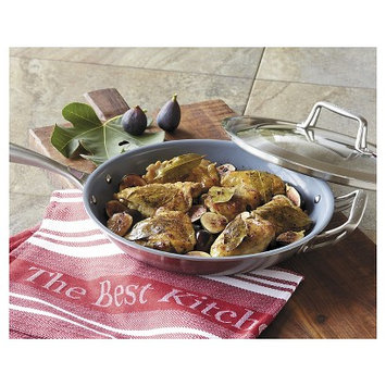 CHEFS Tri-Ply Ceramic Nonstick Fry Pan - 12? with lid & helper handle