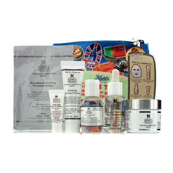 Kiehls Clearly Corrective White Set: Clarifying Cream Toner Cleanser Masque UV Defense SPF 50 Bag