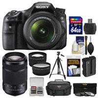 Sony Alpha SLT-A58 Digital SLR Camera Body & 18-55mm with 55-300mm Lens + 64GB Card + Case + Battery + Tripod + Filters + Tele/Wide Lens Kit
