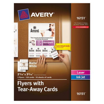 Avery Flyers with Tear-Away Cards, 8-1/2 x 11, White, 5 Flyers/120 Cards