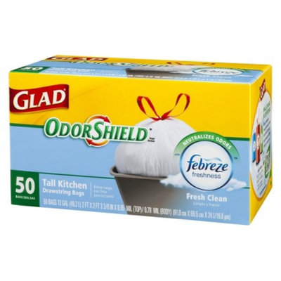 Glad OdorShield Febreze Fresh Clean Scent Tall Kitchen Drawstring