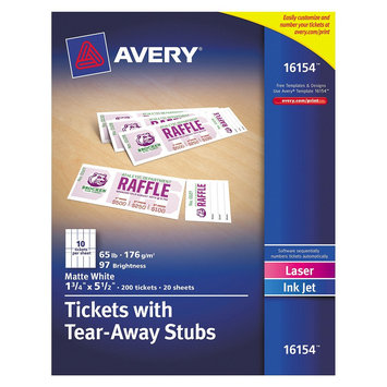 Avery Tickets With Tear-Away Stubs 16154, Matte Wh