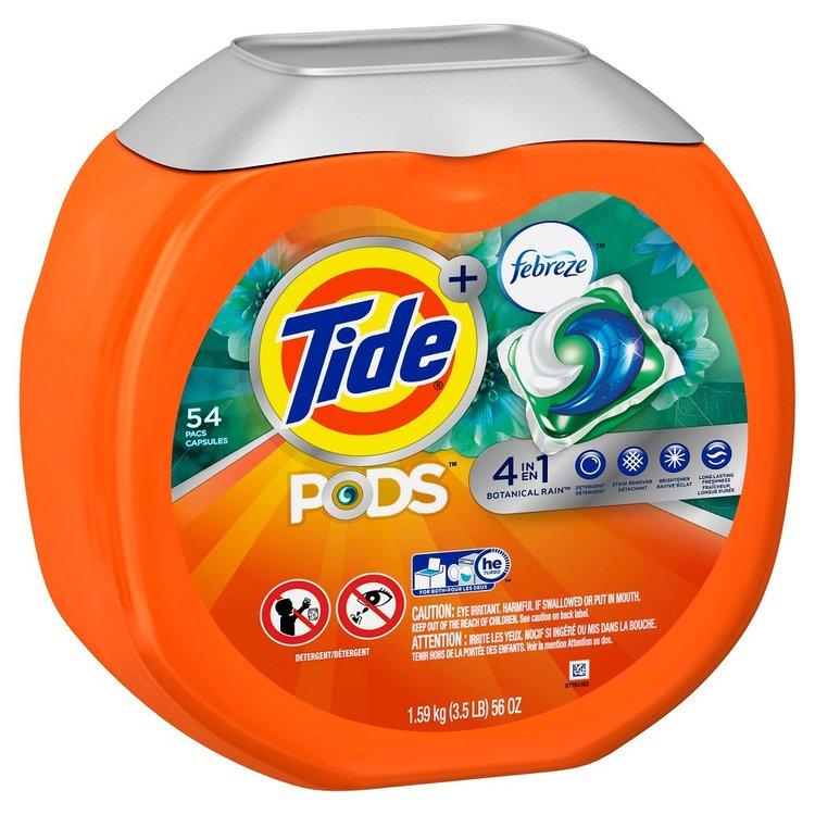 Tide Pods Botanical Rain Scent with Febreze Laundry Detergent Pacs 54 ct
