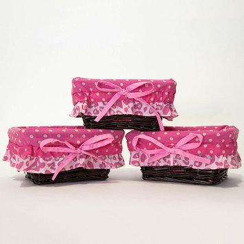 Pam Grace Creations 3-pk. Tabby Cheetah Wicker Baskets (Pink)