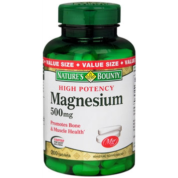 Nature's Bounty Magnesium 500mg Value Size, Tablets, 200 ea