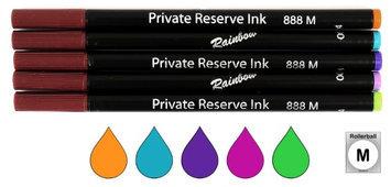 Rainbow Pk/5 Colors Private Reserve (Schmidt 888) Rollerball Refills, Medium