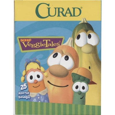 Curad Band Aid Kids Veggie Tales, 25 Assorted Bandages