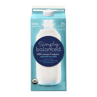 Simply Balanced DHA Omega-3 Organic 2% Reduced Fat Milk .5 gal