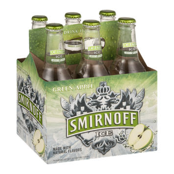 Smirnoff Ice Malt Beverage Green Apple Bottles - 6 CT