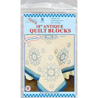 Jack Dempsey 318503 Stamped Ecru Quilt Blocks 18 inch x 18 inch 6-Pkg-Stars