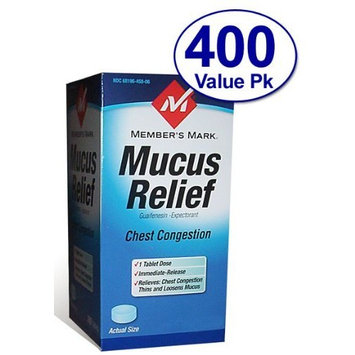 Members Mark Member's Mark - Mucus Relief, Guaifenesin 400 mg, Expectorant, 400 Tablets (Compare to Mucinex)