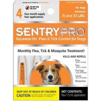 SentryPRO Flea and Tick Squeeze-On for Dogs and Puppies 66-Pound and Greater, 4 Dose