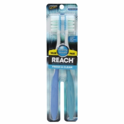 Reach Fresh & Clean Medium Value Pack Adult Toothbrushes, 2 ea