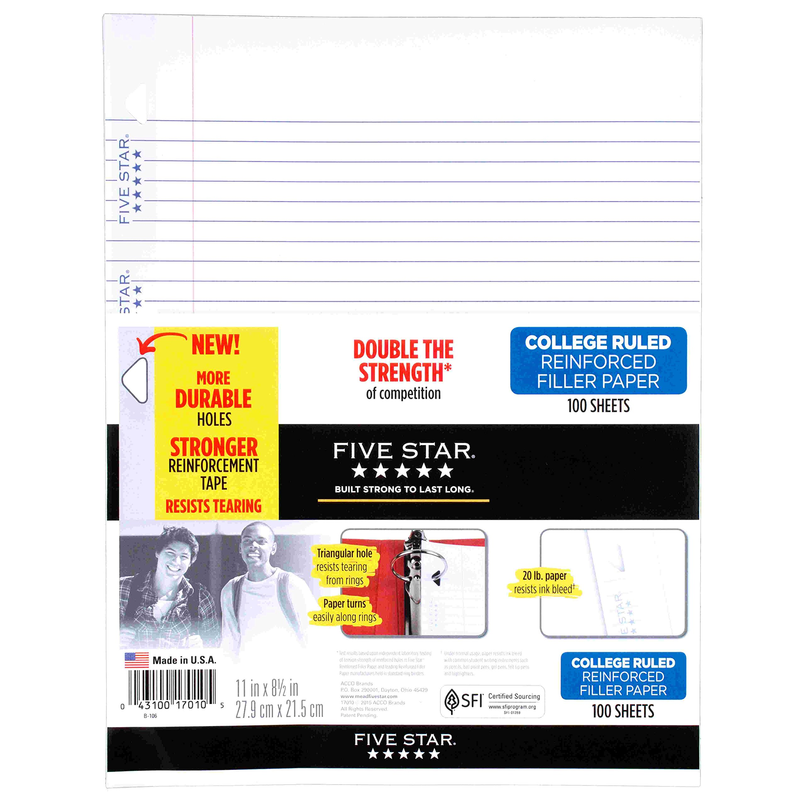 Mead Five Star College-Ruled Reinforced Filler Paper 100-ct, White