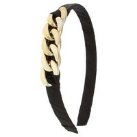 Women's Wide Satin Covered Headband with Plastic Chain Detail - Black