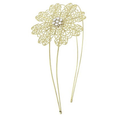 Women's Double Row Metal Headband with Large Flower and Center Gems