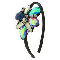 Women's Satin Covered Headband with Gems - Multicolor
