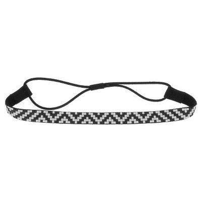 Women's Faux Suede Headwrap with Gem Zig Zag Pattern - Black/ White